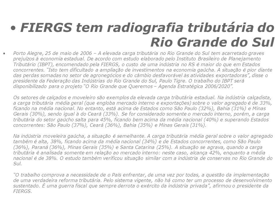 FIERGS tem radiografia tributária do Rio Grande do Sul
