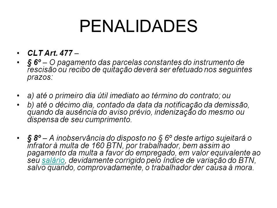 PENALIDADES CLT Art. 477 –