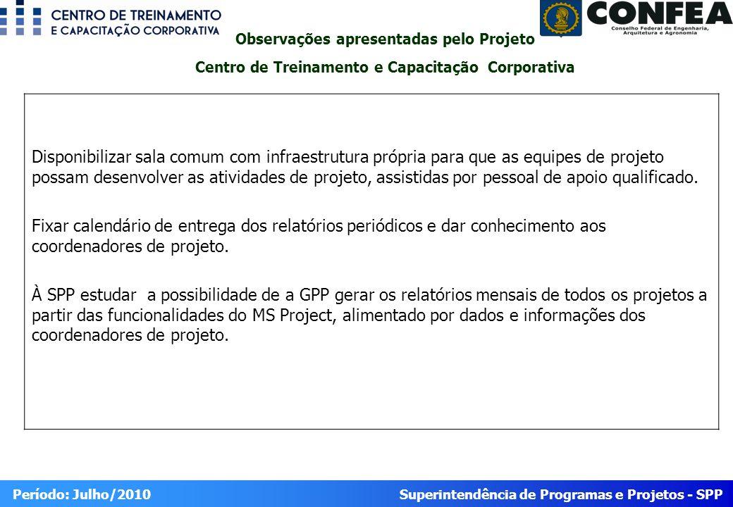 Observações apresentadas pelo Projeto