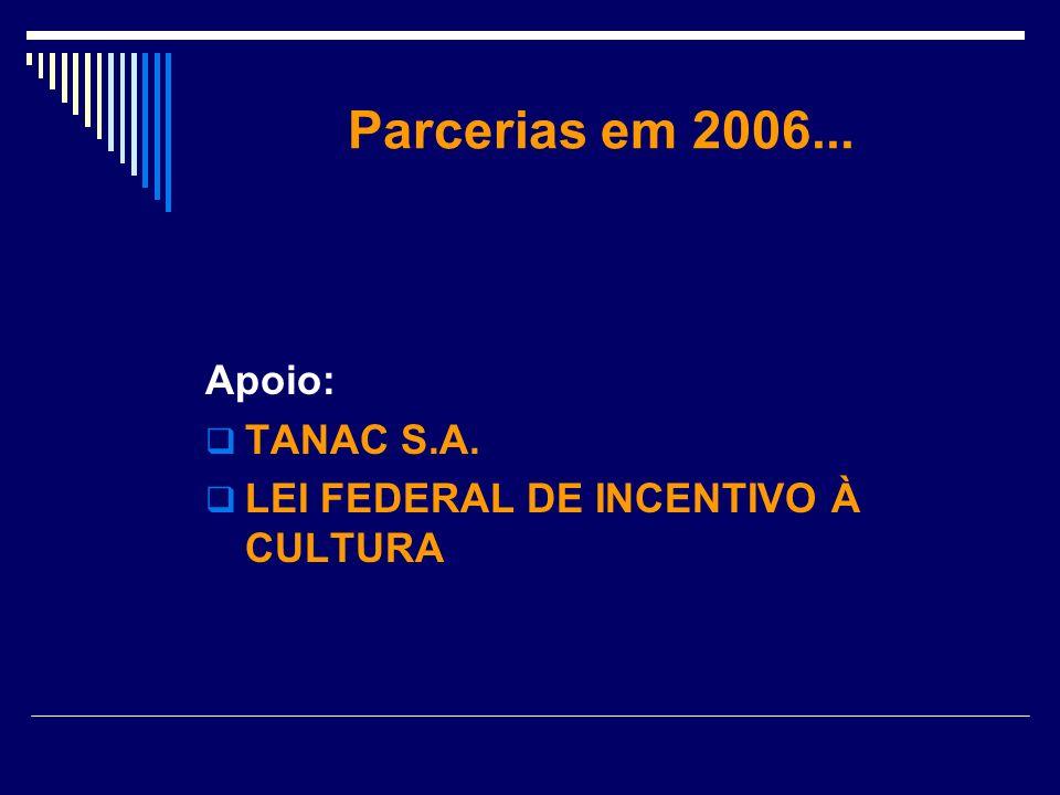 Parcerias em 2006... Apoio: TANAC S.A.