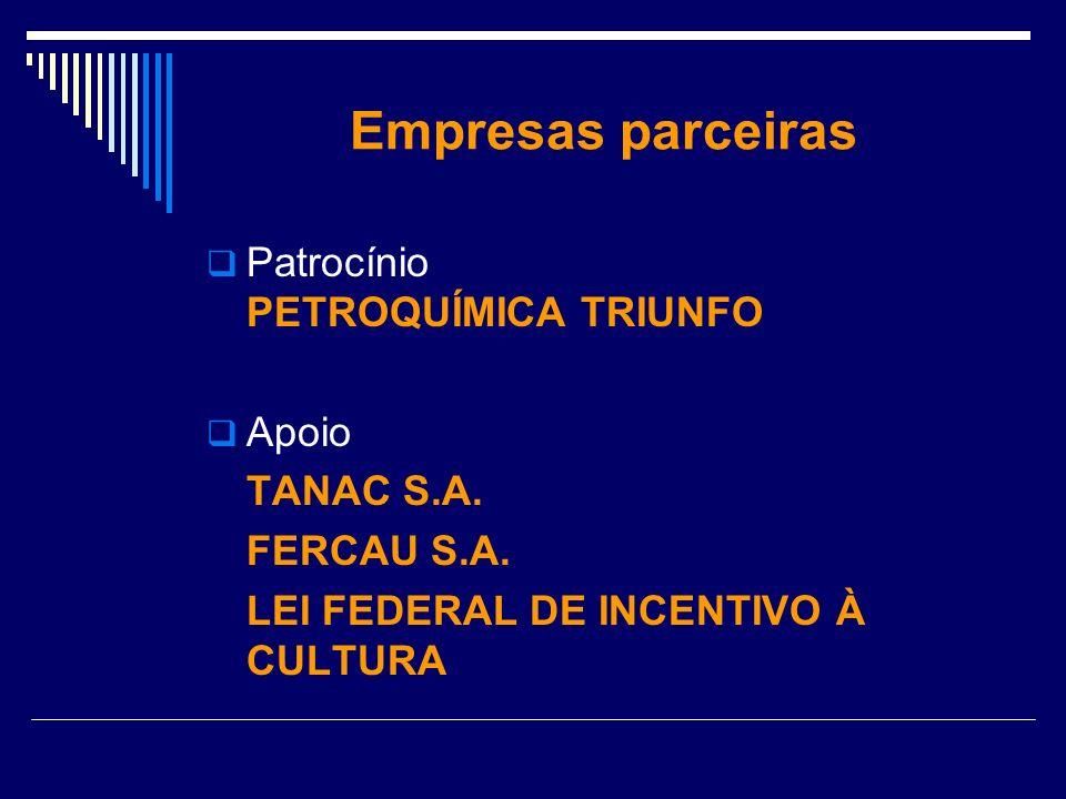 Empresas parceiras Patrocínio PETROQUÍMICA TRIUNFO Apoio TANAC S.A.
