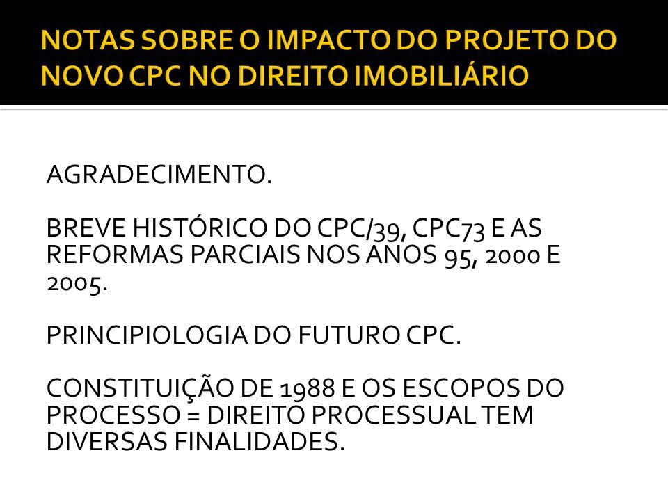 NOTAS SOBRE O IMPACTO DO PROJETO DO NOVO CPC NO DIREITO IMOBILIÁRIO