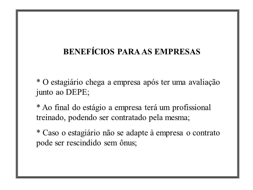 BENEFÍCIOS PARA AS EMPRESAS