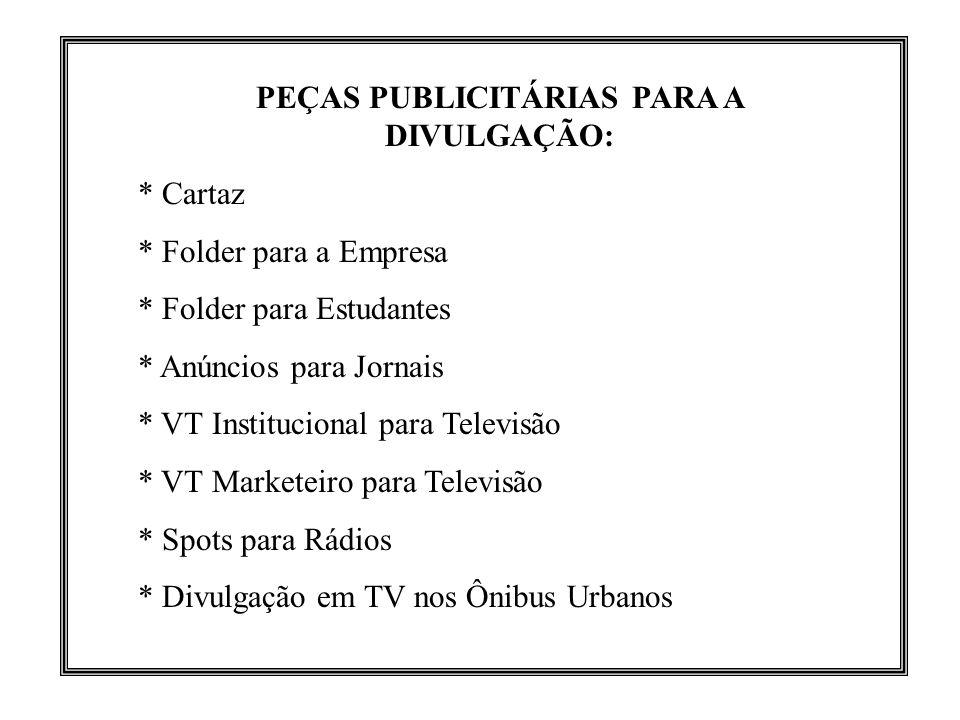 PEÇAS PUBLICITÁRIAS PARA A DIVULGAÇÃO: