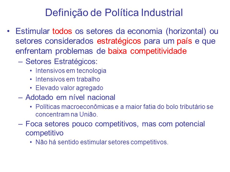 Definição de Política Industrial