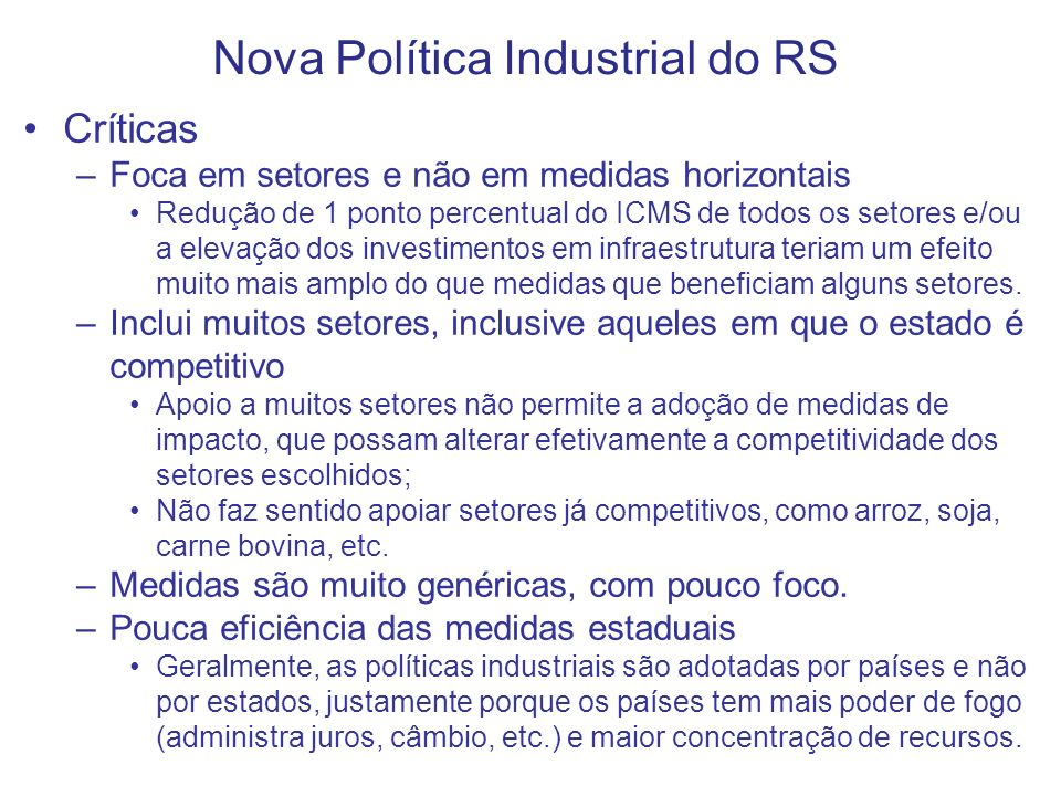 Nova Política Industrial do RS