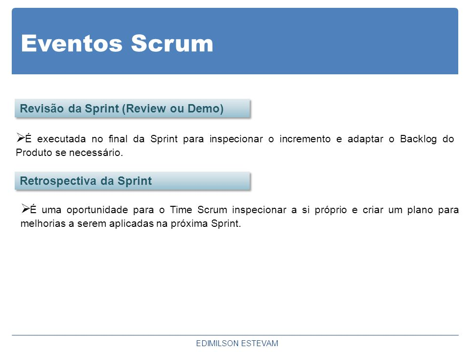 Eventos Scrum Revisão da Sprint (Review ou Demo)