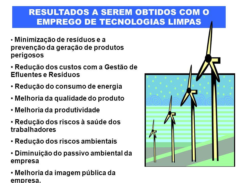 RESULTADOS A SEREM OBTIDOS COM O EMPREGO DE TECNOLOGIAS LIMPAS