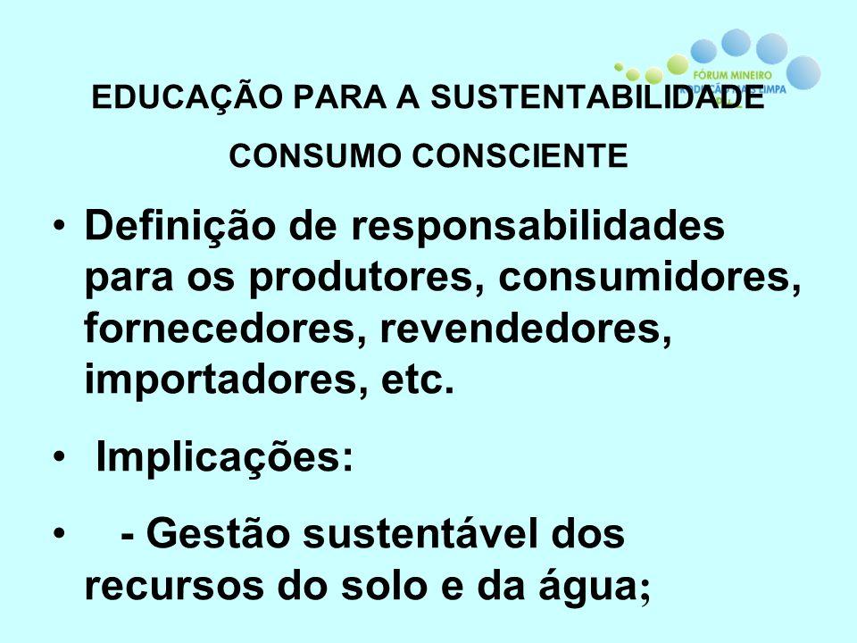 EDUCAÇÃO PARA A SUSTENTABILIDADE CONSUMO CONSCIENTE