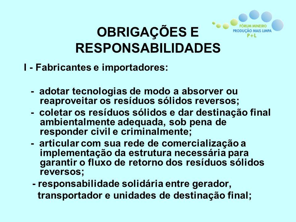 OBRIGAÇÕES E RESPONSABILIDADES