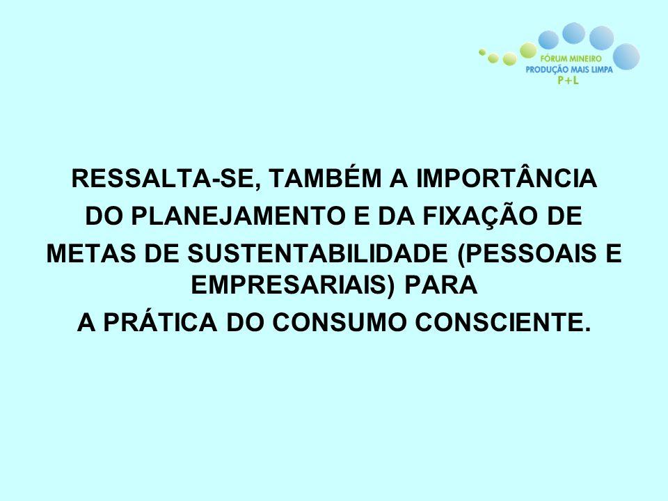 RESSALTA-SE, TAMBÉM A IMPORTÂNCIA DO PLANEJAMENTO E DA FIXAÇÃO DE METAS DE SUSTENTABILIDADE (PESSOAIS E EMPRESARIAIS) PARA A PRÁTICA DO CONSUMO CONSCIENTE.