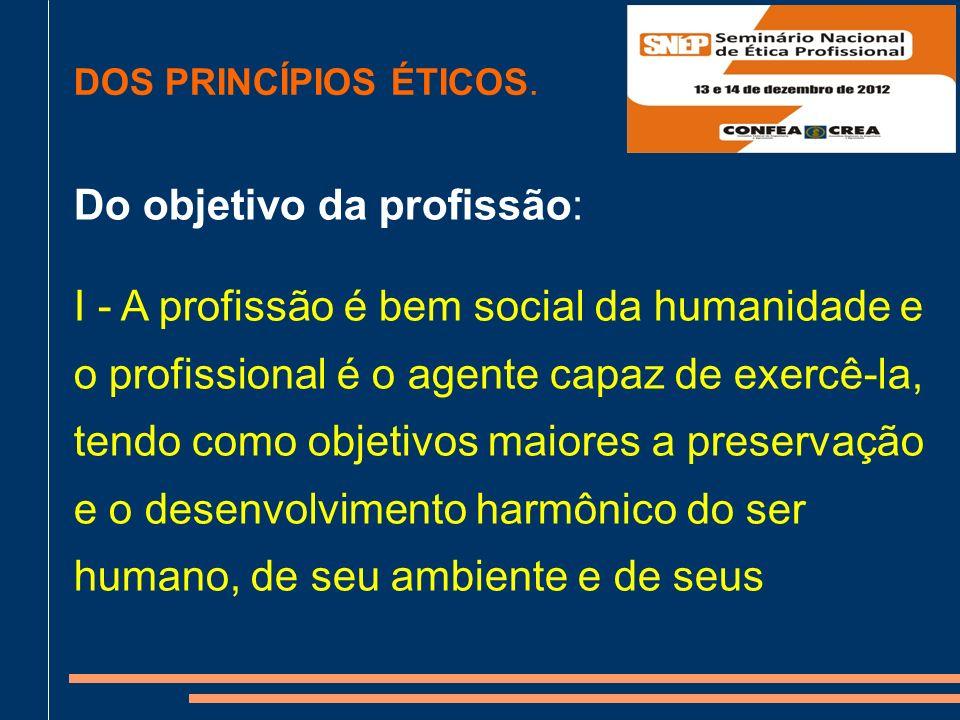 Do objetivo da profissão: I - A profissão é bem social da humanidade e