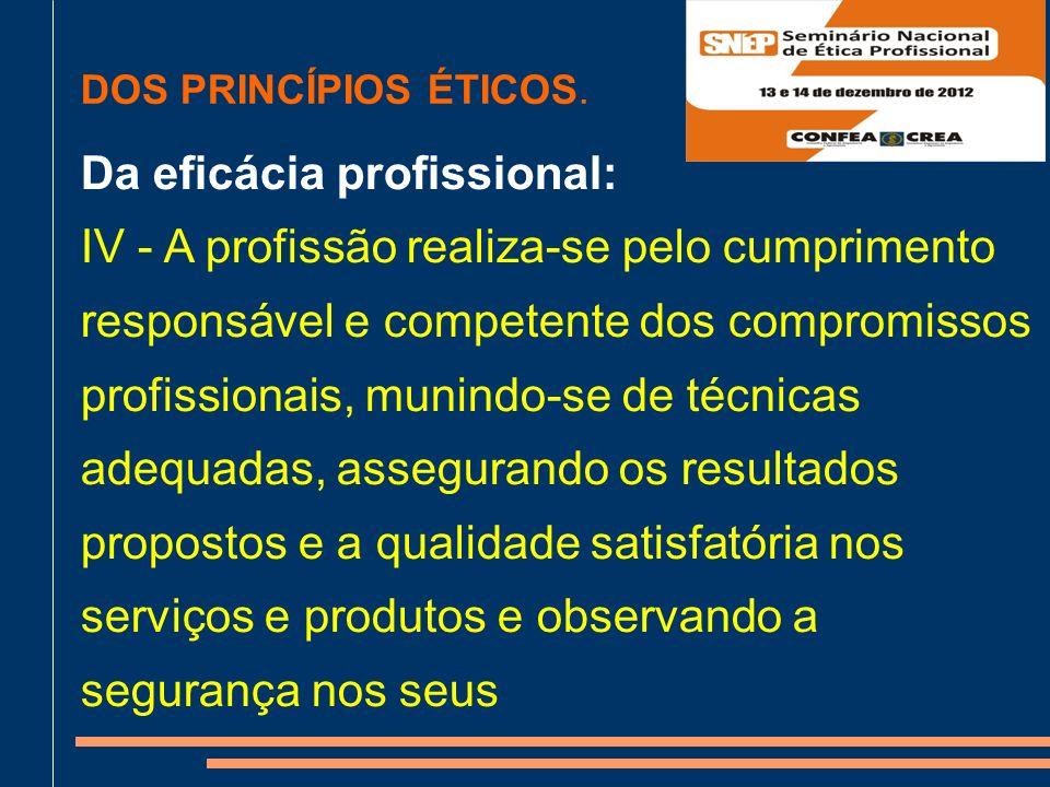 Da eficácia profissional: IV - A profissão realiza-se pelo cumprimento