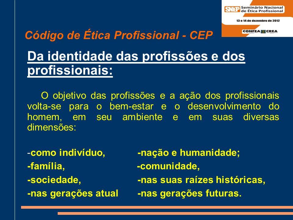 Da identidade das profissões e dos profissionais: