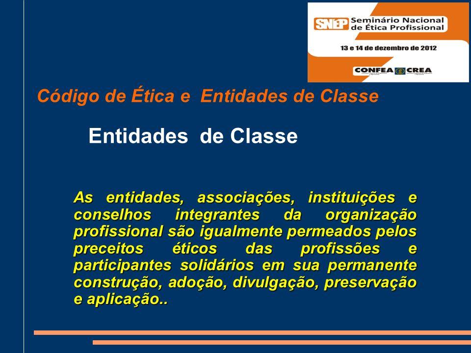 Entidades de Classe Código de Ética e Entidades de Classe