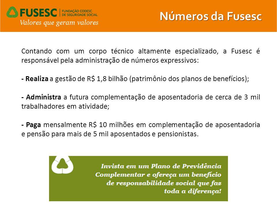 Números da Fusesc Contando com um corpo técnico altamente especializado, a Fusesc é responsável pela administração de números expressivos: