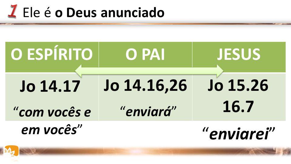 O ESPÍRITO O PAI JESUS Jo 14.17 Jo 14.16,26 Jo 15.26 16.7