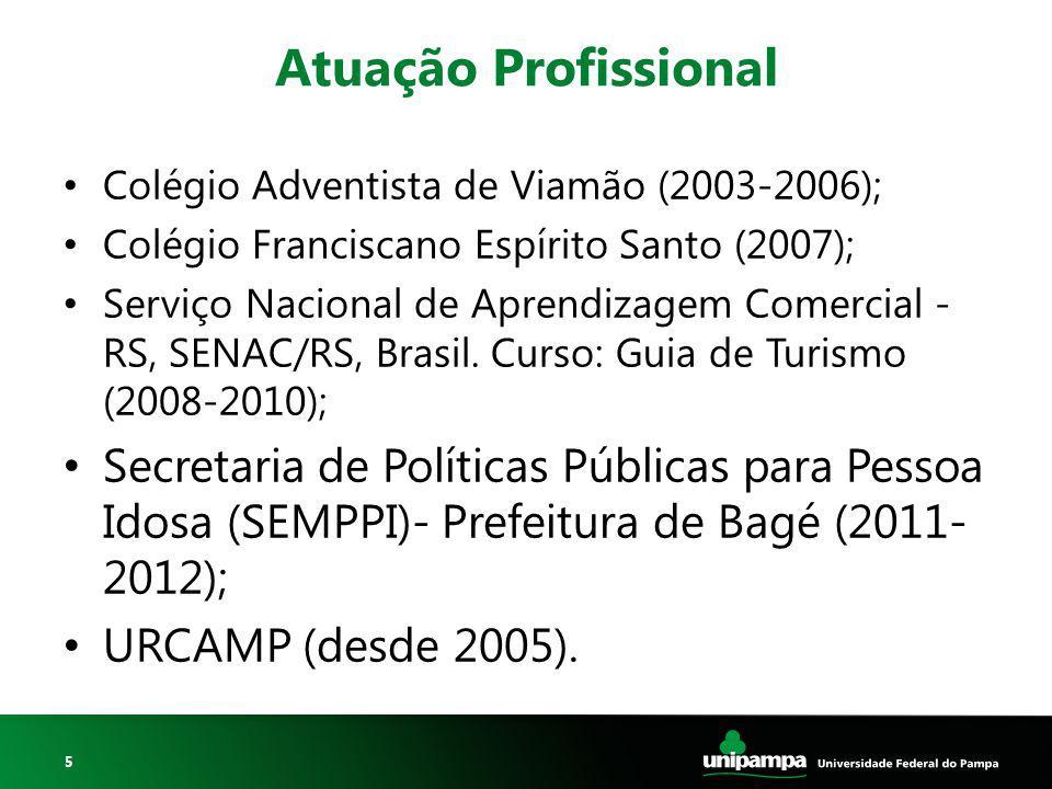 Atuação Profissional Colégio Adventista de Viamão (2003-2006); Colégio Franciscano Espírito Santo (2007);