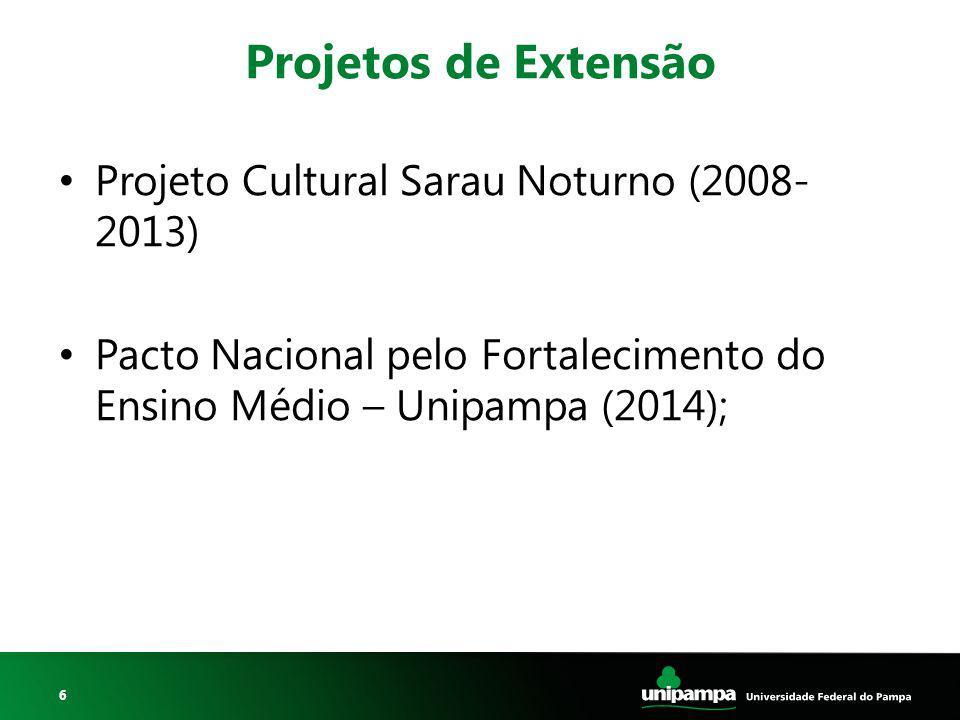 Projetos de Extensão Projeto Cultural Sarau Noturno (2008- 2013)