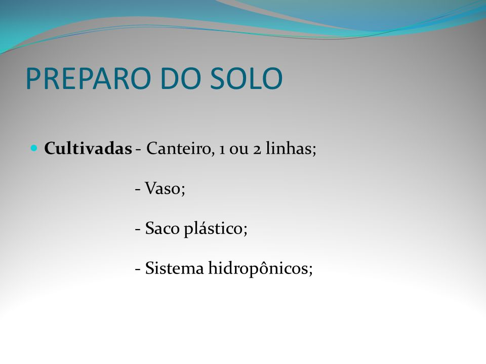 PREPARO DO SOLO Cultivadas - Canteiro, 1 ou 2 linhas; - Vaso;