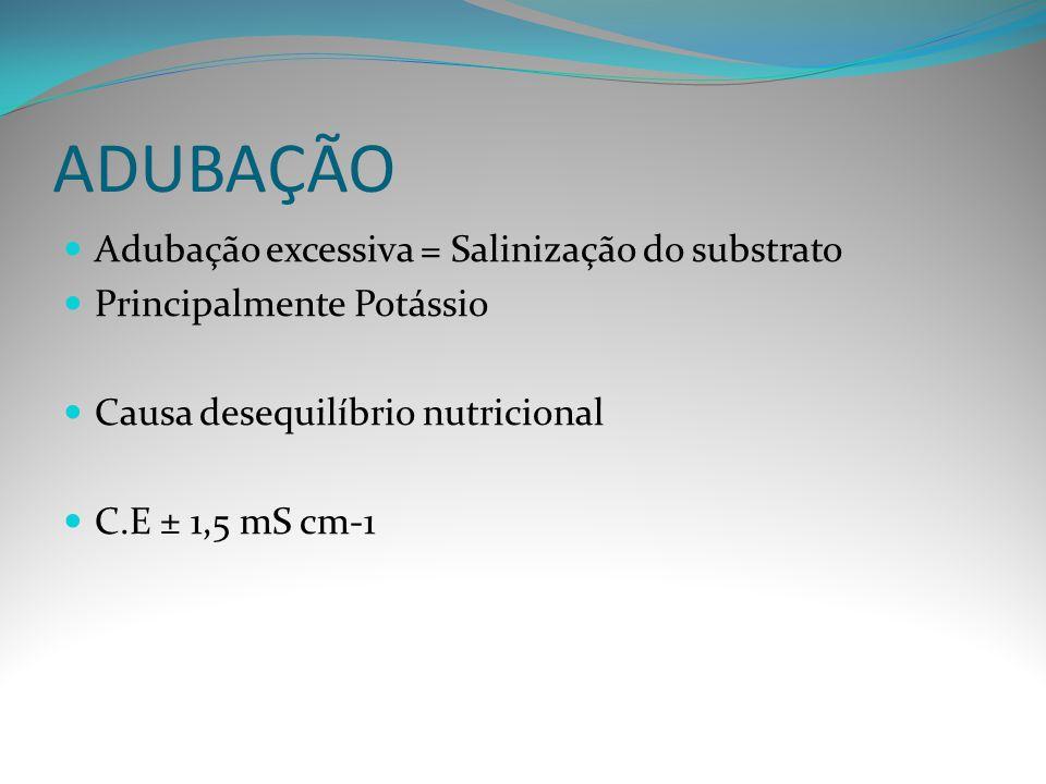 ADUBAÇÃO Adubação excessiva = Salinização do substrato