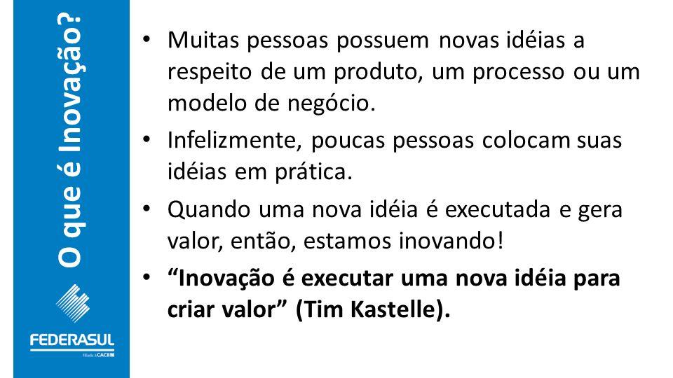 Muitas pessoas possuem novas idéias a respeito de um produto, um processo ou um modelo de negócio.