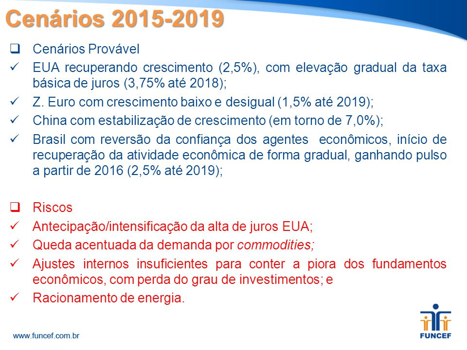 Cenários 2015-2019 Cenários Provável