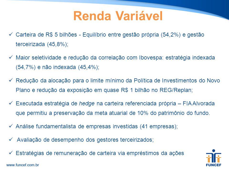 Renda Variável Carteira de R$ 5 bilhões - Equilíbrio entre gestão própria (54,2%) e gestão terceirizada (45,8%);