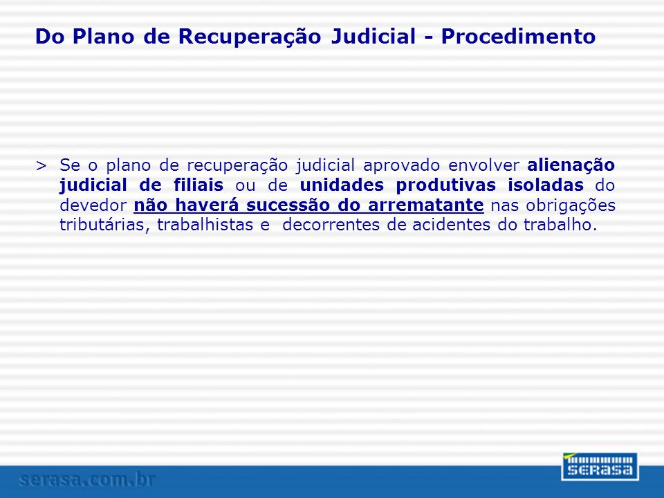 Do Plano de Recuperação Judicial - Procedimento