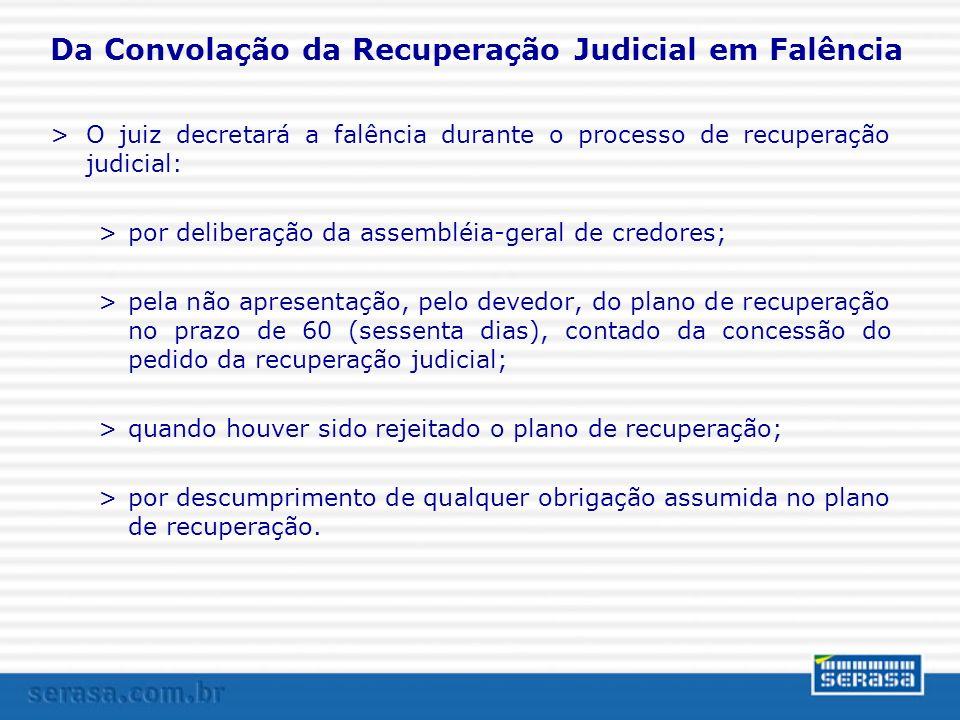 Da Convolação da Recuperação Judicial em Falência