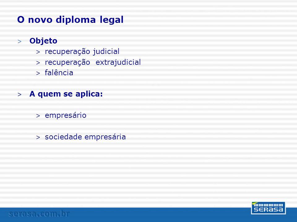 O novo diploma legal Objeto recuperação judicial