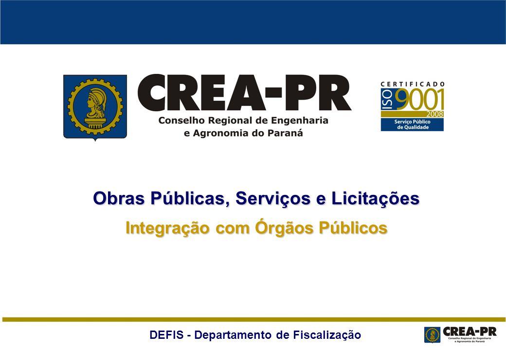 Obras Públicas, Serviços e Licitações Integração com Órgãos Públicos