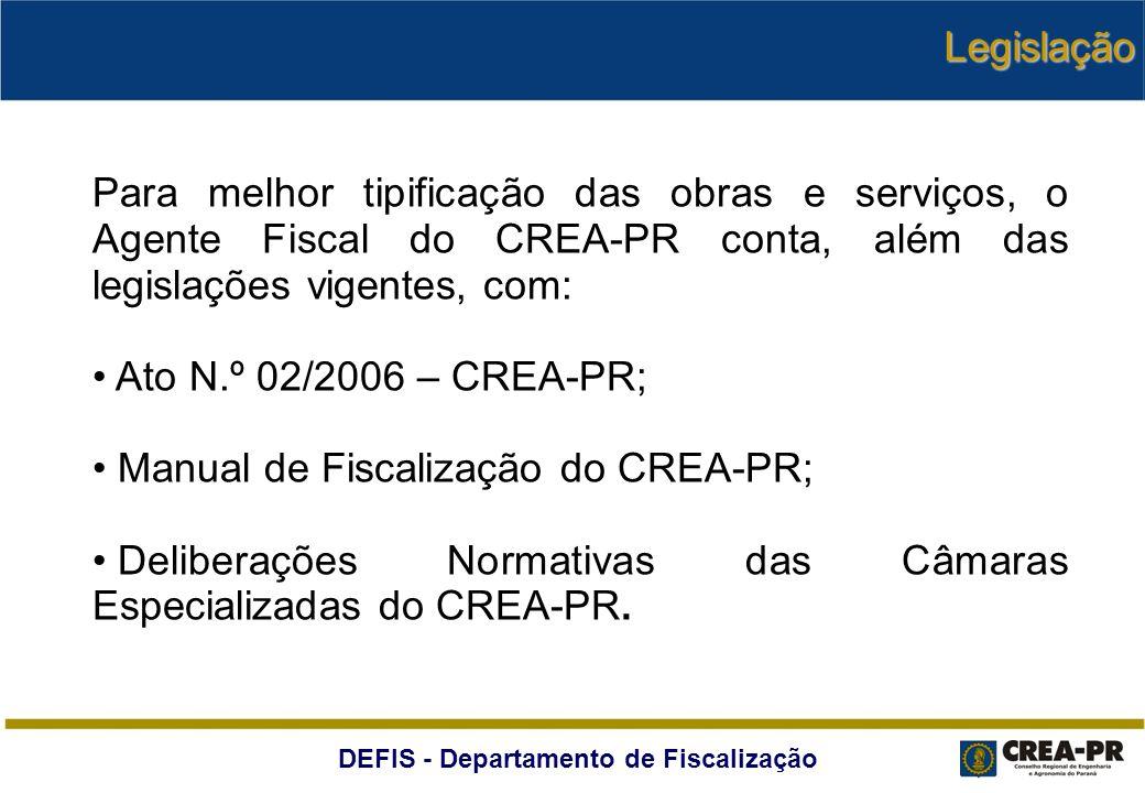Legislação Para melhor tipificação das obras e serviços, o Agente Fiscal do CREA-PR conta, além das legislações vigentes, com:
