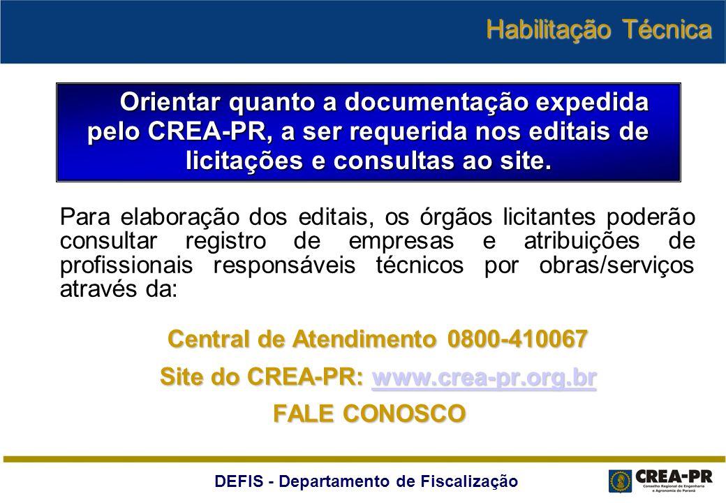 Site do CREA-PR: www.crea-pr.org.br