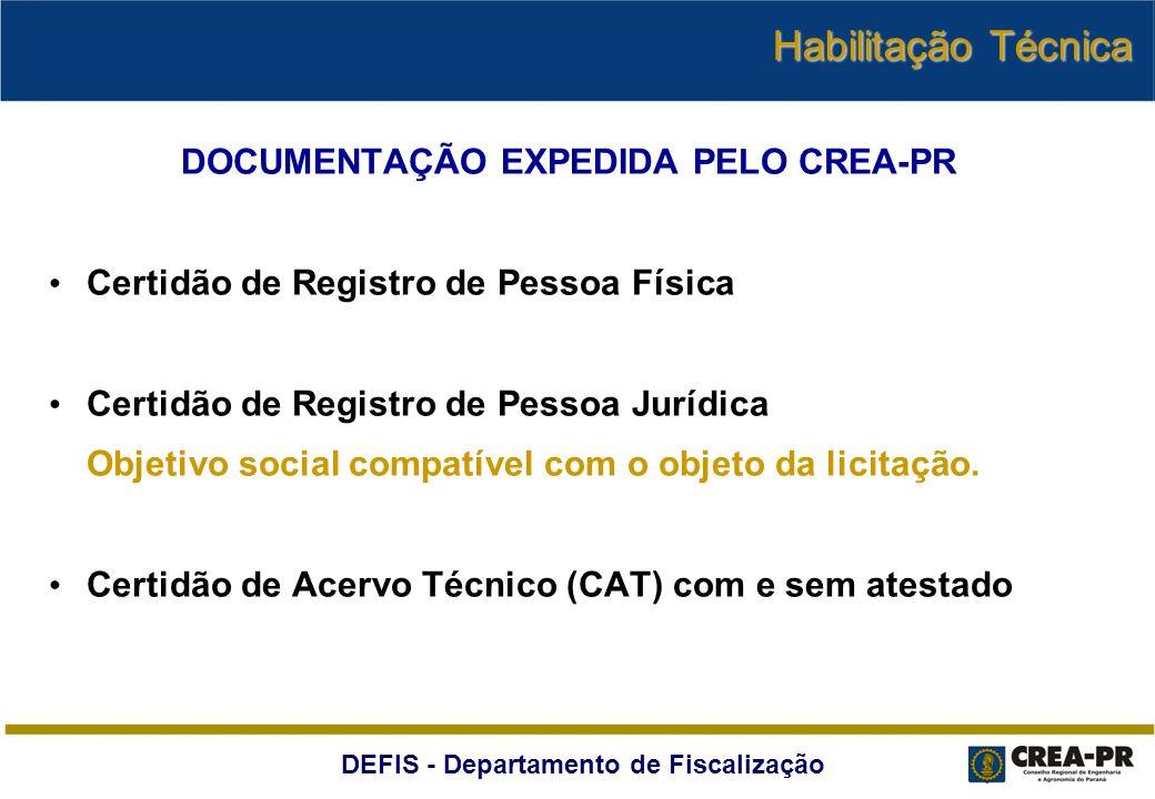 DOCUMENTAÇÃO EXPEDIDA PELO CREA-PR