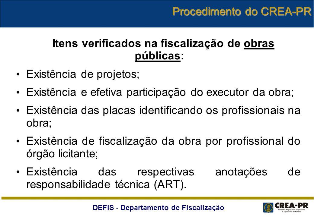 Itens verificados na fiscalização de obras públicas: