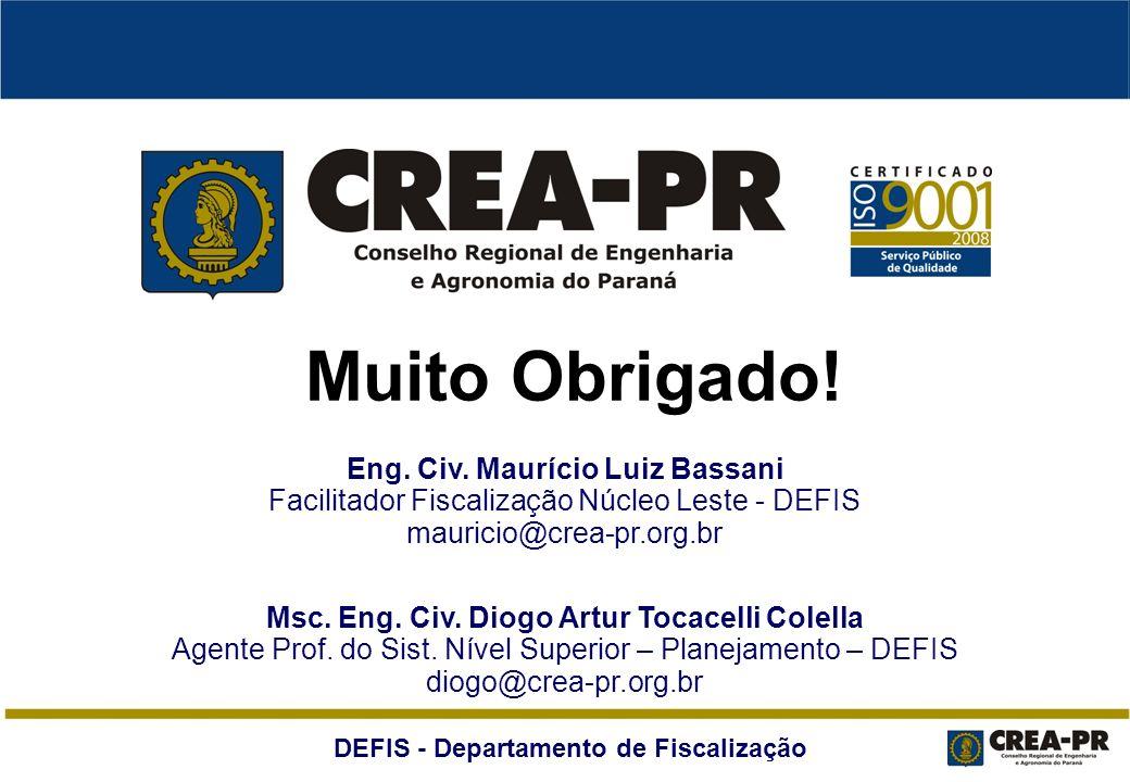 Muito Obrigado! Eng. Civ. Maurício Luiz Bassani