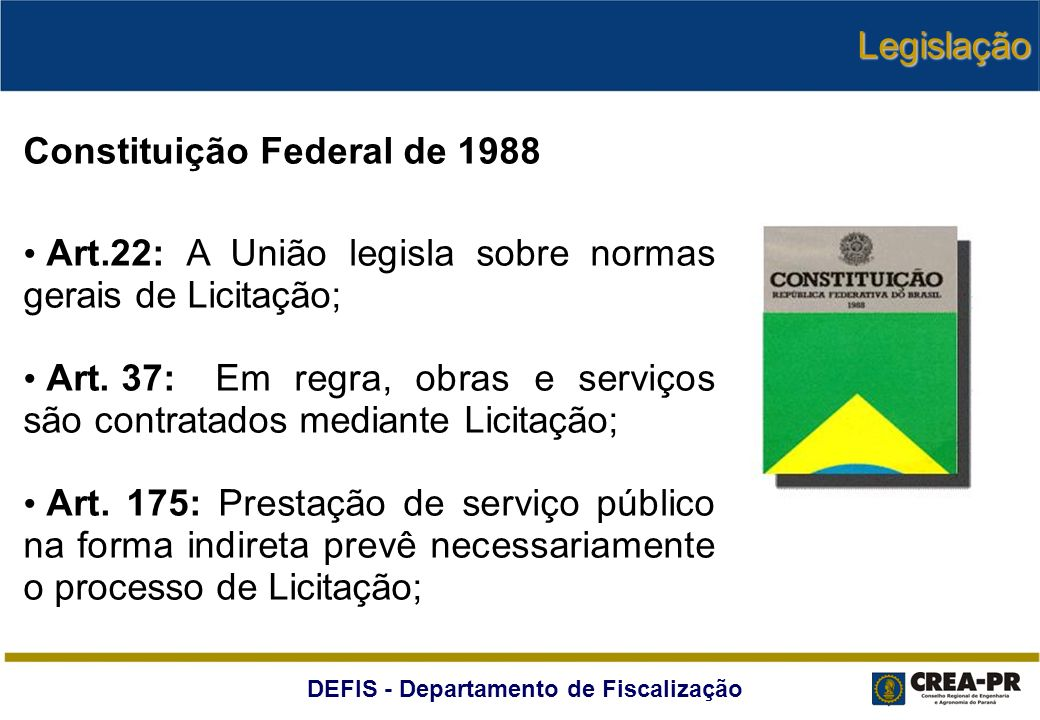 Legislação Constituição Federal de 1988. Art.22: A União legisla sobre normas gerais de Licitação;