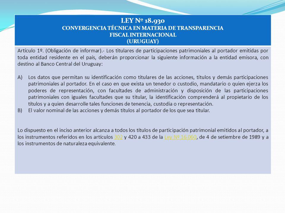 CONVERGENCIA TÉCNICA EN MATERIA DE TRANSPARENCIA FISCAL INTERNACIONAL