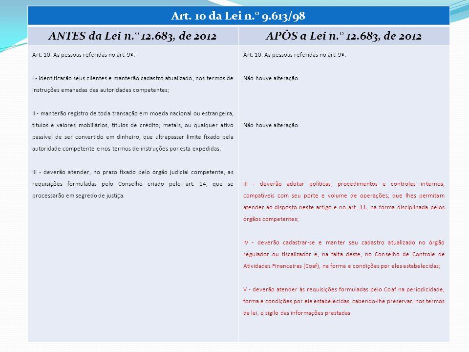 Art. 10 da Lei n.° 9.613/98 ANTES da Lei n.° 12.683, de 2012