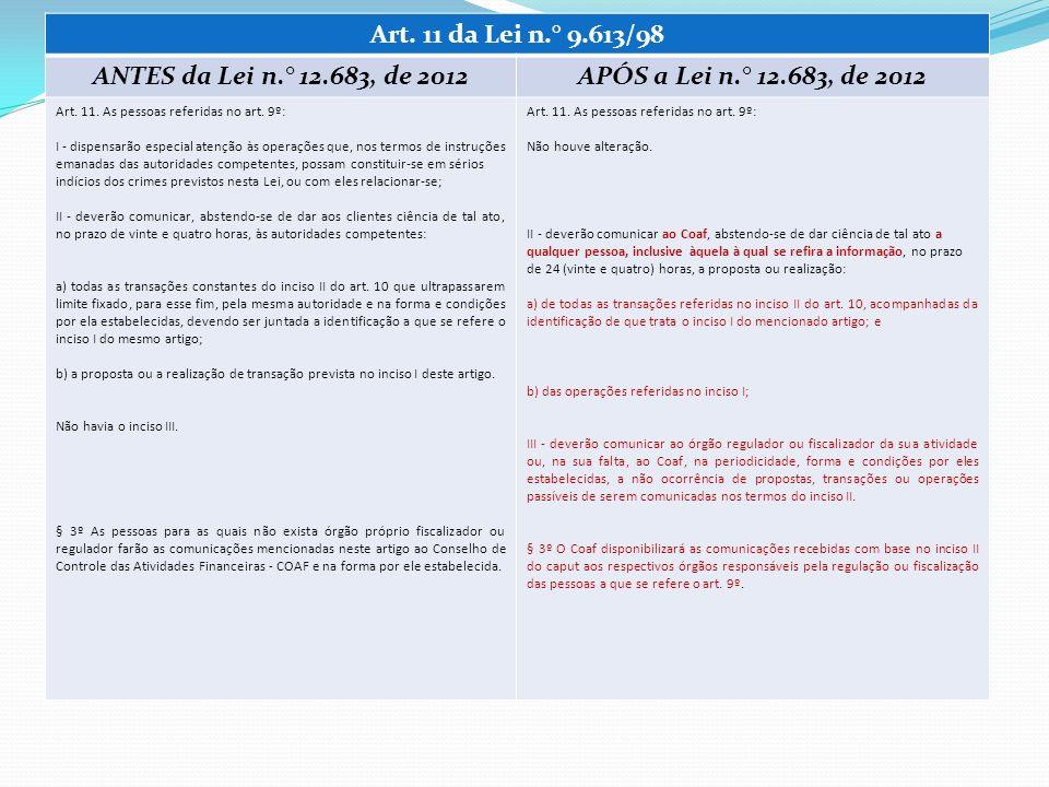 Art. 11 da Lei n.° 9.613/98 ANTES da Lei n.° 12.683, de 2012