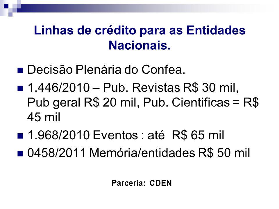 Linhas de crédito para as Entidades Nacionais.
