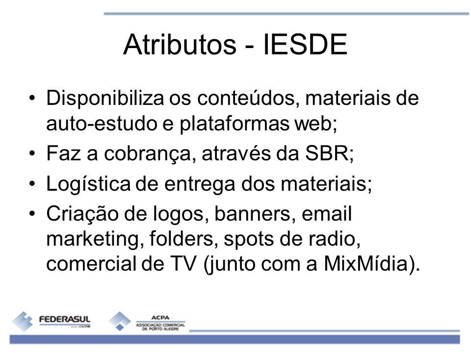 Atributos - IESDE Disponibiliza os conteúdos, materiais de auto-estudo e plataformas web; Faz a cobrança, através da SBR;