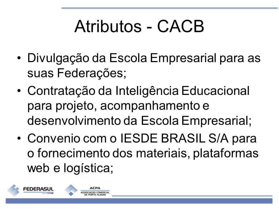 Atributos - CACB Divulgação da Escola Empresarial para as suas Federações;