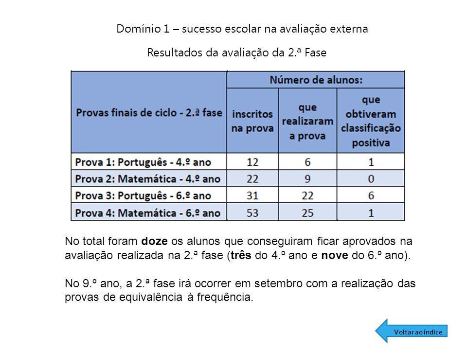 Domínio 1 – sucesso escolar na avaliação externa