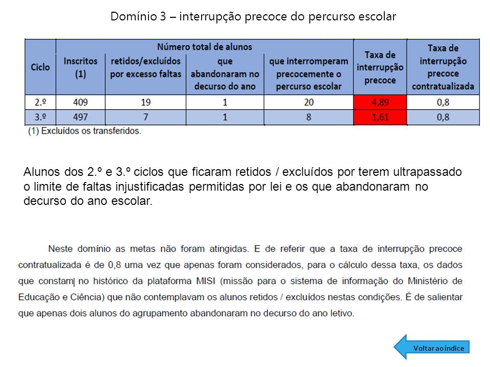 Domínio 3 – interrupção precoce do percurso escolar