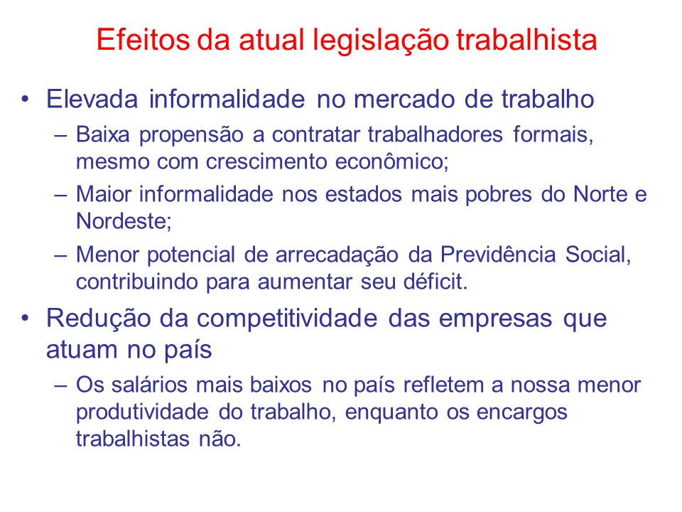 Efeitos da atual legislação trabalhista