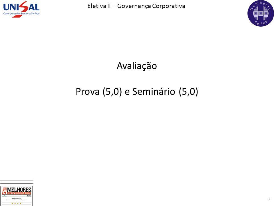 Avaliação Prova (5,0) e Seminário (5,0)