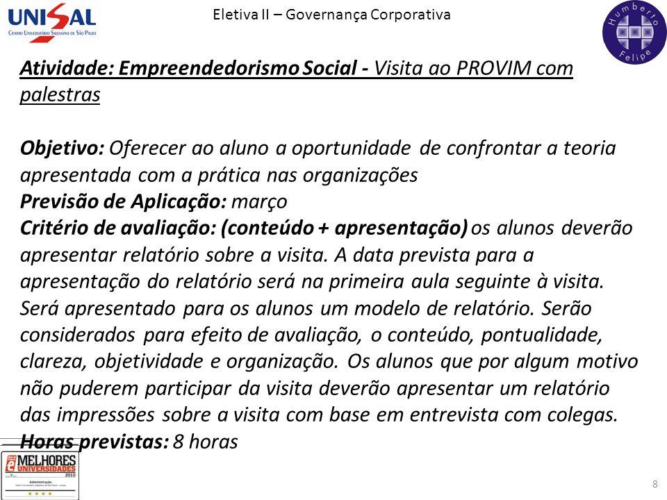 Atividade: Empreendedorismo Social - Visita ao PROVIM com palestras