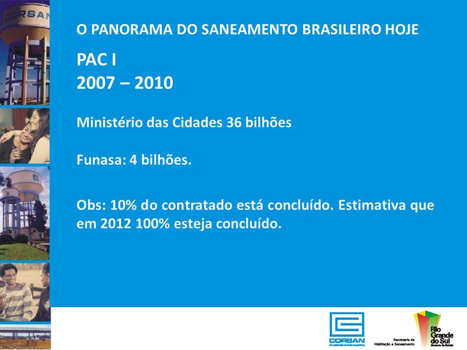 PAC I 2007 – 2010 O PANORAMA DO SANEAMENTO BRASILEIRO HOJE